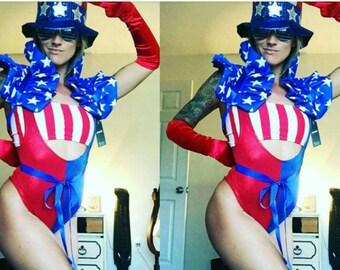 4th of July Showgirl Wonder Woman Uncle Sam Cosplay Dramatic Collar Bolero Shrug Burlesque Ringmaster Circus