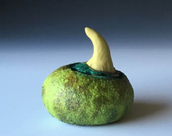 Matte Moss Green and Chartruese Ceramic Sprout Wall Art Jewelry Ring Holder Pod 5