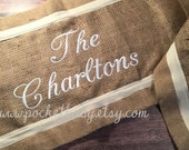 Personalized Burlap Table Runner - Holiday Table Runner - Kitchen Table Runner - Dining Table Runner - by Pocketbaby