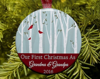First Christmas As Grandma & Grandpa Ornament - Birds and Trees - C141