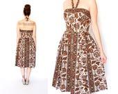 vintage 50s floral HALTER sun dress M
