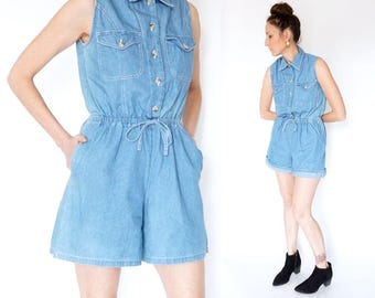 vintage 90s denim JUMPER shorts romper S-M