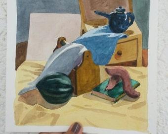 Still life in the studio  - 3- original watercolor painting