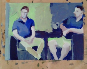 Two men at home- original acrylic painting