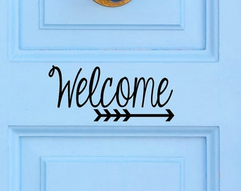 Welcome with Arrow - Vinyl Decal - Door Decor - Arrow - Welcome Decal - Decal Sticker - Vinyl Sticker