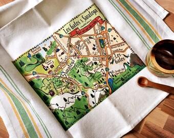 Los Gatos - Saratoga Map Kitchen/Tea Towel