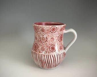 Red and White Cup with Rice Paper Decals