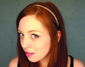 OH so comfy rhinestone headband for every day. Golden settings with clear gems. Comfortable and flexible hair band  hb017