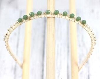 Jade crystal and glass head band. Beaded tiara crown for bride or bridesmaids. 100% Comfortable hair band  hb063