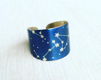 Constellation Ring, Star Ring, Zodiac Ring, Galaxy Ring, Night Sky, Cosmic Solar System, Celestial Jewelry, Gift for Him, Gift for Her