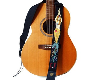 The Mermaid - Guitar Strap- Custom Klimt Style Hand Embroidered/ Golden Mermaid/ OOAK Music Strap of My Design
