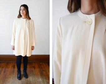 1970s/1980s Cream Wool Swing Jacket - S/M
