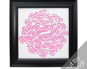 flower - PAPER CUTTING - handmade art, Valentines Day, Paper cut art, flowers, unique wall art, framed paper cut, white paper,botanical,pink