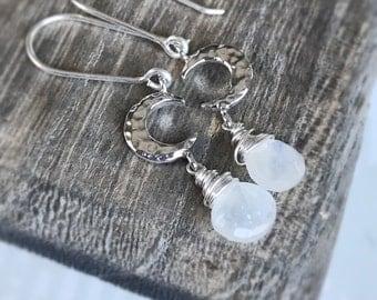 Moonstone Earrings, Sterling Silver Earrings, Moon Earrings, Moon Jewelry, Neutral Earrings, Moon Phase Earrings, Crescent Moon Earrings