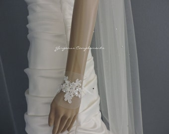 Wedding Veil Cut Edge with Scattered Rhinestones Swarovksi Crystals, Bridal Veil