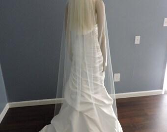 Floor Length Sheer Wedding Veil with Cut Edge, Bridal Veil ST7050CE