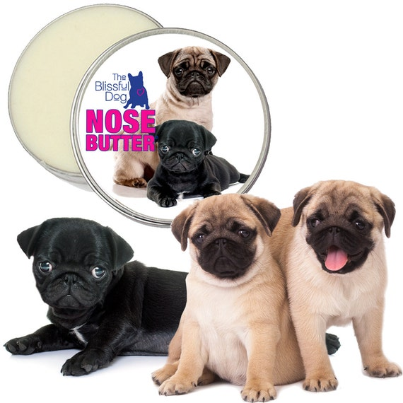 Pug ORIGINAL NOSE BUTTER® All Natural Handcrafted Balm for Dry, Crusty Pug Dog Noses 1 oz Tin Your Choice Pug Duo, Black or Fawn Pug