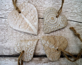 FREE POSTAGE- Loveheart ceramic hangers, handmade white lovehearts