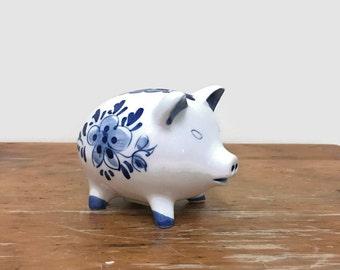 Vintage Piggy Bank - Blue & White - Delft - Handpainted
