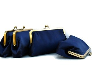 Navy Blue Clutch, Bridal Purse, Blush Pink, Wedding Purse, Bridesmaid Gifts, Personalized Gift, Silver Kiss Lock Frame