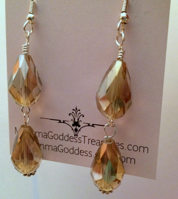 Women, Earrings, Holiday Silver Taupe Crystal Dangle Earrings