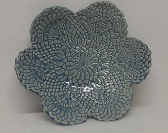 Light Blue Porcelain Doily Impressed Shallow Dish