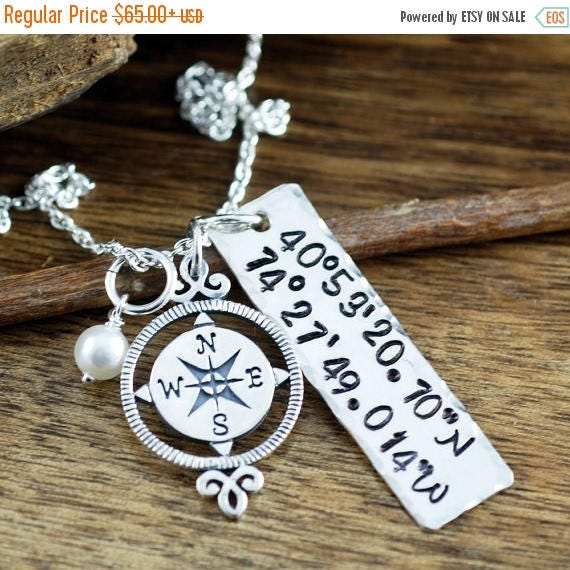 15% OFF SALE Latitude Longitude Necklace, Coordinates Necklace, Personalized Compass Necklace, Travel Necklace, Journey Necklace, Best Frien