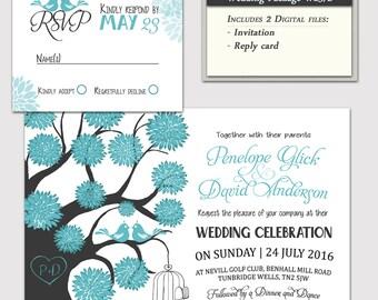 Digital Wedding Invitation Package, DIY Wedding invitations, Reply rsvp Card, Printable wedding invitation pdf Jpg, W23/2