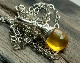 Sunny bright yellow chalcedony sterling silver necklace - handmade wire wrapped jewelry
