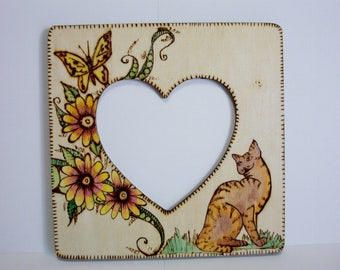 picture frame photo frame kitty cat butterfly flowers vines pyrography wood burning 8x8 inches 5 inch heart opening stand and wall hanger - Wood Burning Picture Frame