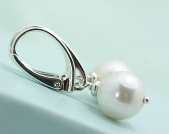 White Shell Pearl lever back earrings 10mm shell pearl dangle earings by art4ear gift for her under 25USD free shipping in Canada, leverback