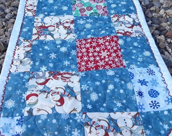 Winter Table Runner, Retro Snowmen, Snowmen Tablecloth, White And Blue, Quilted Placemat, Winter Table Cloths