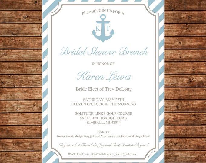 Wedding Bridal Baby Shower Brunch Tea Anchor Lake Beach Nautical Party Invitation - DIGITAL FILE