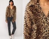 Leopard Faux Fur Coat 70s FUZZY Jacket Furry Vegan Vintage Bohemian Brown Animal Punk Glam Rock 1970s Hipster Boho Small