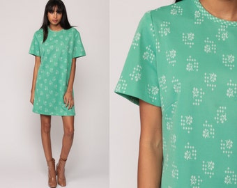 Floral Shift Dress 60s Mod Mini Green Print Hippie Vintage 1960s Gogo Twiggy Sixties Minidress Polyester Short Sleeve Large