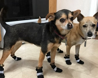 L Waterproof Dog Booties with velcro Lined with Fleece