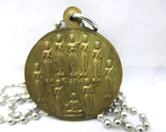 """free shipping Vintage unique rare multi Buddhas 2 sides Bodhisatta Buddha Temple amulet silver plated ball pendant necklace 20"""""""