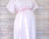Light Pink Damask Maternity Hospital Delivery Gown -Super Soft -Perfect Snaps for Breastfeeding, Skin to Skin, and Epidural