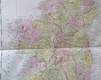 1891 Map- Ireland - Atlas Page 14.5 x 22 in Great for Framing