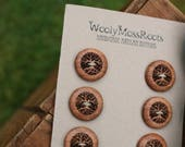 Reserved Listing- 6 Wooden Tree Buttons- Oregon Madrone Wood- Wooden Buttons- Eco Craft Supplies, Eco Knitting Supplies, Eco Sewing Supplies