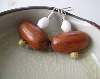Au Naturel--Minimalist Wood and Vintage Bead Earrings