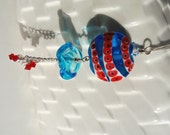 "Unique Handmade Pendant, Lampwork Glass Bead ""Under The Sea"", SRA Nelli Rees, with sterling silver chain, gift idea"