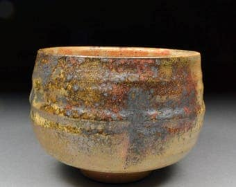 Extraordinary Smaller Handmade Matcha Chawan Teabowl Tea Ceremony Glazed with Carbon Trap Shino, Wood Ash, Rutile and Copper