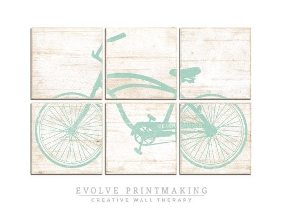Distressed Vintage Beach Cruiser Bike Print By