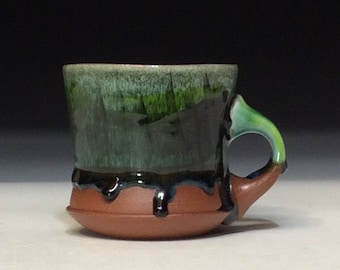 copper green and black drippy glaze small one finger coffee mug