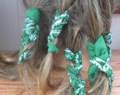 Dread Wraps Green Bandana Print,Ponytail Holders, Dread Accessories, Wired Dread Holders, PonyTail Twists, Boho Hair Accessories, Set of 6