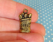 1 Coffee Bag Charm Bronze Plated Pewter USA Made Latte Cafe Jewelry Supplies for Charm Bracelet Wine Markers Coffee Lover Dangle Brz20