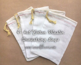 4 Muslin Bags for Bath Bars & Teas
