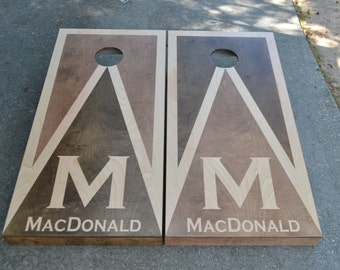 Personalized Custom Full Size Stained Cornhole Boards Set w/Bags/Baggo/Lawn Games/Corn Toss/Wedding/Non Painted/Personalized/Logo/corn hole