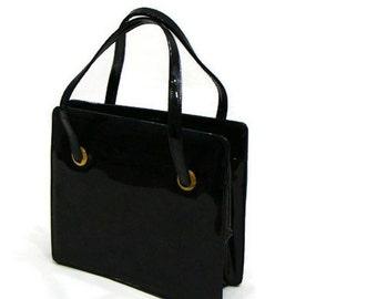 Vintage Black Patent Leather Handbag Vintage Patent Purse Vintage Bonwit Teller Handbag Patent Leather Handbags
